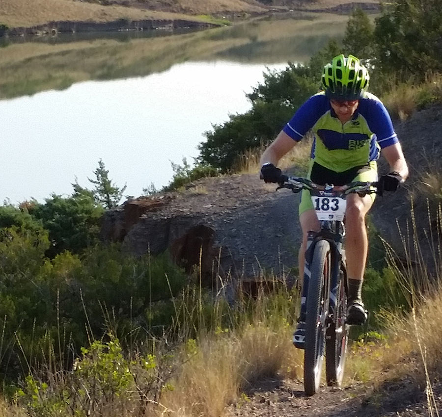 Biking along River's Edge Trail