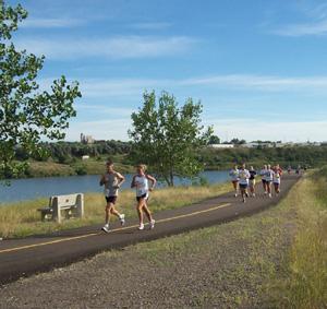 Running Along River's Edge Trail